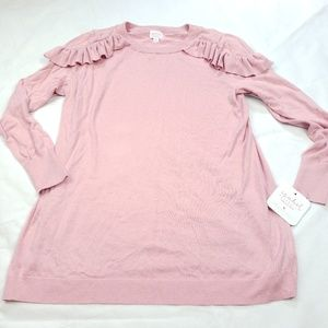 Isabel Maternity Pink Ruffle Top Size Large